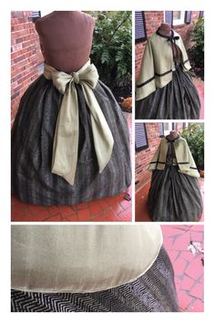 Sage Green with Black Civil War Cape Set**Dickens fair gown at Cumberlandriversutlery.com