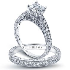 The hand engraved detail in this diamond engagement ring is just lovely<3  Style: K161ES/K160E-B