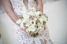 Gorgeous floral wedding bouquet with lace wedding dress!