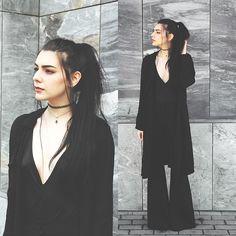 Holynights Claudia - Zaful Chiffon Coat, Sheinside Deep V Bodysuit, Sheinside Flare Pants - F l a r e s