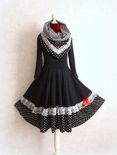 S-XXL Petticoat Collar Dress Swing Lace Pinup Black Rockabilly