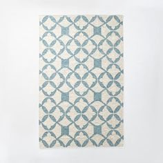 Tile Wool Kilim Rug - Aquamarine | West Elm
