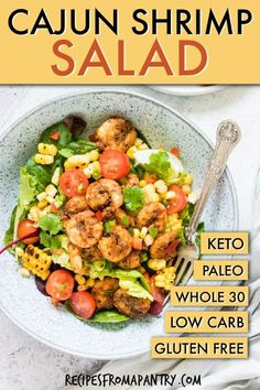 This colourful Cajun Shrimp Salad Recipe is packed with nutrients and full of bold zesty flavour. A quick, easy and healthy shrimp salad! Cajun Shrimp Recipes, Shrimp Salad Recipes, Healthy Salad Recipes, Ww Recipes, Easy Chicken Dinner Recipes, Salad Recipes For Dinner, Dinner Salads, Healthy Meals To Cook, Quick Meals