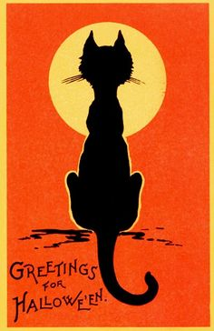 Vintage Halloween Postcard with Black Cat Silhouette and Full Moon