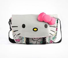07f795ea3e Hello Kitty Messenger Bag  Grey Bows Sanrio Hello Kitty