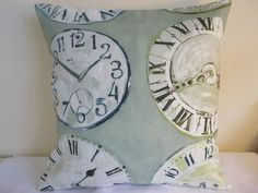 16  NEW CUSHION COVER VINTAGE CLOCK FRENCH SHABBY STYLE CHIC VERDI GREEN PURPLE