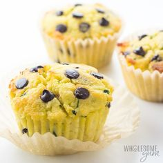 Chocolate Chip Low Carb Paleo Zucchini Muffins Recipe - For the most delicious low carb zucchini muffins or paleo zucchini muffins, try this chocolate chip zucchini muffins recipe with coconut flour! It's sugar-free, keto, nut-free, and dairy-free. Paleo Zucchini Muffins, Low Carb Zucchini Recipes, Paleo Blueberry Muffins, Coconut Flour Muffins, Zucchini Chocolate Chip Muffins, Coconut Flour Recipes, Vegan Keto Recipes, Apple Muffins, Zucchini Fries