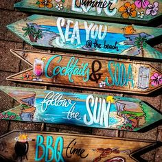 Beach signs, directional, make them your own style, bright, beautiful RECLAIMED WOOD