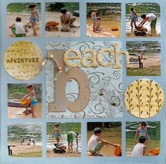 Nice layout for a lot of photos, like the finishing touch of rounding the four corners  |  beach - Scrapbook.com