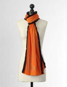 The Oregon State University Ruffled Team Scarf in Orange & Black