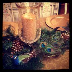 Peacock Christmas Table Decor