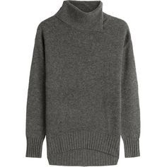 81 Hours by Dear Cashmere Merino Wool Turtleneck Pullover (€200) ❤ liked on Polyvore featuring tops, sweaters, grey, merino sweater, grey turtleneck, slouchy sweater, gray oversized sweater and oversized slouchy sweater