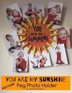 You Are My Sunshine Photo Gift, kid-made from pegs and cardboard! Perfect gift for a loved one!