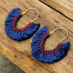 Sapphire passion funky fluff cotton earrings by cafeandshiraz, $25.00                                                                                                                                                                                 More