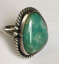 Silver Polished Turquoise Bezel Set Ring Size 7 1 2 | eBay