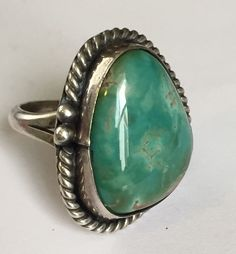 Silver Polished Turquoise Bezel Set Ring Size 7 1 2 | eBay