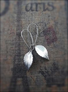 Silver leaf dangle earrings #nature #jewelry