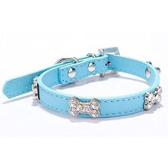 Neonr 6 Bling Crystal Into Bones Rhinestone Shape with PU Leather Simulation Leash Dog Cat Collar.(Blue) *** More details @