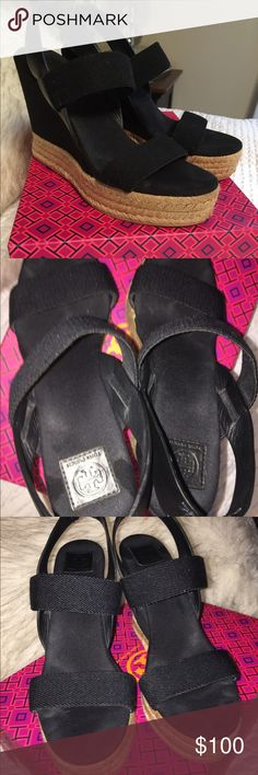 Tory Burch Black Wedges Lightly worn 3-4 times. Only sign of wear is the marks on the soles, which can't be seen when wearing. The sole and straps are a thick fabric, and the back strap is leather. Comes with original box Tory Burch Shoes Wedges