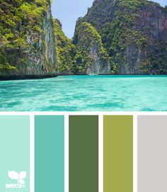 Mental Vacation: Pool Blue, Turquoise, Grassy Green, Moss Green and Rock Gray