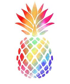 'Rainbow Pineapple ' Poster by Kittyworks Beautiful rainbow watercolor illustration of sweet and exotic tropical fruit for lovers of pineapples Pineapple Drawing, Pineapple Painting, Pineapple Tattoo, Pineapple Art, Pineapple Watercolor, Pineapple Design, Cartoon Pineapple, Watercolor Illustration, Watercolor Paintings