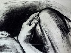 Detail of woman.  Charcoal on paper #charcoal #drawing