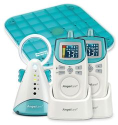 Angel Care Monitors by Greco. I had two of these for my twins after they came off the heart monitors. Talk about piece of mind! Never regretted this purchase, new baby will have one too.