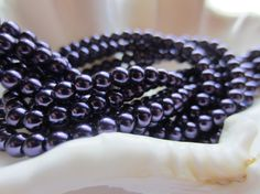 Glass Pearls 4mm Round Dark Purple 1 Strand by gypsybeadpeddler