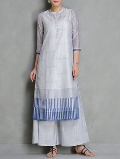Buy Blue-Ivory Block Printed Mandarin Collar Chanderi Kurta Set of 2 by Kora Online at Jaypore.com