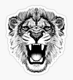 roaring lion t-shirt on lite Sticker