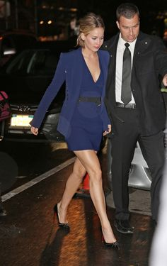 Outside The Colbert Report  Mugler dress; Christian Louboutin shoes.
