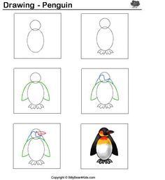 Pinguin tekenen met kleuters / desenhando+animais