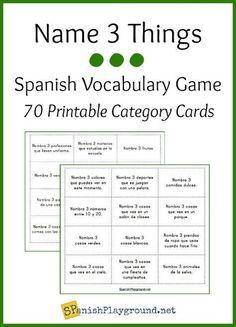 Spanish Vocabulary Game: Name 3 Things - Spanish Playground