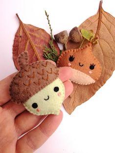 Felt PDF sewing pattern - Acorn and Chestnut. Cute felt brooches, fall / autumn accessory, DIY sewing project Felt PDF sewing pattern Acorn and Chestnut. Felt Crafts Patterns, Felt Crafts Diy, Felt Diy, Fabric Crafts, Kids Crafts, Felt Ornaments Patterns, Upcycled Crafts, Handmade Felt, Handmade Items