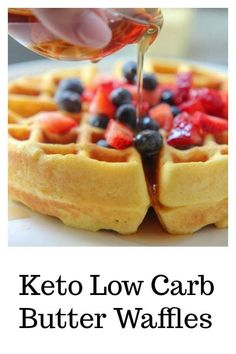 Keto Waffles Make these buttery Belgian waffles in under 10 minutes! Serve with sugar-free keto friendly syrup or sugar-free keto friendly ice cream! - Keto Low Carb waffles with fruit Best Low Carb Recipes, Low Carb Dinner Recipes, Low Carb Desserts, Diet Recipes, Dessert Recipes, Easter Recipes, Coconut Flour Recipes Low Carb, Snack Recipes, Fruit Recipes