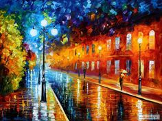 Night Scene Landscape Wall Art Oil Painting On Canvas By Leonid Afremov - Blue Lights Road Painting, Oil Painting On Canvas, Painting Prints, Canvas Wall Art, Painting Art, Building Painting, Painting Portraits, Street Painting, Watercolor Painting