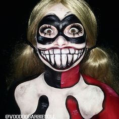 Harley Quinn inspired from Batman: The Animated Series | IG @voodoobarbiedoll | Harley Quinn Makeup, Suicide Squad, Original Harley Quinn, Creepy Makeup, Batman Makeup, Villain, Harlequin, Jester, Clown Makeup, Red and Black, Scary Mouth, SFX, Special Effects Makeup, Body Paint, Face Paint, Cosplay, Cospaint, Costume Makeup, Halloween Makeup