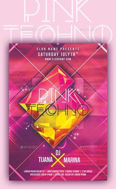Pink Techno Flyer Template #design Download: http://graphicriver.net/item/pink-techno/12223154?ref=ksioks