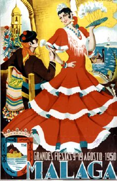 Spanish Woman, Cultural, Old Ads, Mexican Art, Vintage Labels, Vintage Travel Posters, Illustrations And Posters, Malaga, Retro
