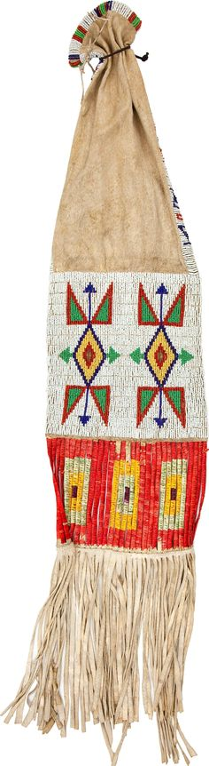 A SIOUX BEADED HIDE TOBACCO BAG. c. 1900... American Indian | Lot #50065 | Heritage Auctions