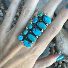Turquoise Multi-Stone Cluster Statement Treasure Ring | Unique & Stylish Sterling Silver Exotic Stone Jewelry