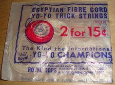 Royal Tops Egyptian Fibre Cord Yo-Yo Trick Strings Vintage Champions Toy String