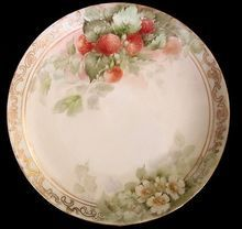 Bavarian Porcelain Hand Painted Strawberries Plate Signed 1912...so beautiful!