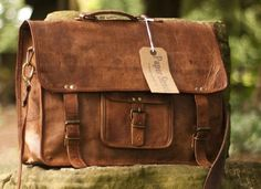Distressed Leather Satchel Leather Bag Office Bag by handiwomen074