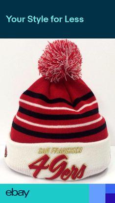 6f6e5980130eba San Francisco 49ers NFL New Era Knit Snow Stripe Cuff Winter Beanie Pom Hat  Cap