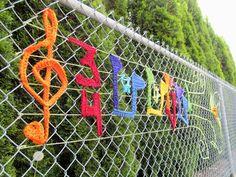 Music is Everwhere. Public art yarnbomb by nirvYARNah, Fence Weaving, Guerilla Knitting, Knit Art, Fence Art, Yarn Bombing, Collaborative Art, Environmental Art, Art Plastique, Public Art