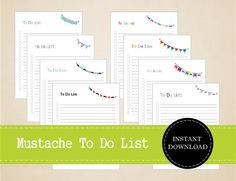 Mustache Themed To Do List Movember by MBucherConsulting on Etsy Movember Mustache, Mustache Wax, Cool Mustaches, Road Trip Planner, Creative Design, Bullet Journal, Printables, Planners, Blog