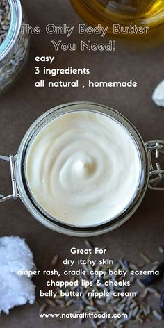 Homemade Body Butter This luxurious homemade body butter is a real workhorse product Use it for dry skin relief as a diaper cream belly butter shave cream baby eczema cr. Homemade Body Butter, Shea Body Butter, Whipped Body Butter, Homemade Skin Care, Diy Skin Care, Homemade Body Lotion, Homemade Products, Uses For Shea Butter, Shea Butter Cream