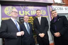 Paul Nuttall (deputy leader of UKIP), candidate for MP Blair Smilie with MEP Nathan Gill and Nigel Williams PPC Delyn, at the opening of the Shotton office, which was later vandalised