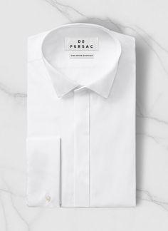 Chemise homme en popeline de coton : Achetez votre chemise col cassé blanche perH3LUCK-T001/01, et découvrez toute la collection de costumes hommes De Fursac.